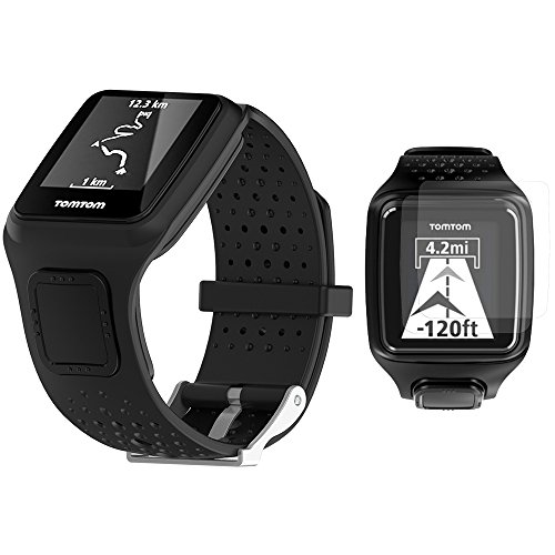 TUSITA Replacement Soft Silicone Band Bracelet Sport Strap WristBand Accessory with Screen Protector for TomTom Runner/TomTom Multi-Sport /TomTom Golfer (Black)
