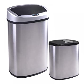 New 13 And 2.4 Gallon Touch Free Sensor Automatic Stainless Steel Trash Can  09R