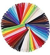 EuTengHao 100Pcs Nylon Coil Zippers 9 Inch Colorful Nylon Zipper for Sewing Bulk Sweing Zipper Su...