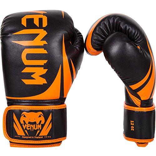 Venum Challenger 2.0 Boxing Gloves - Black/Neo Orange - 16-Ounce (Show Leather Pro Gloves)