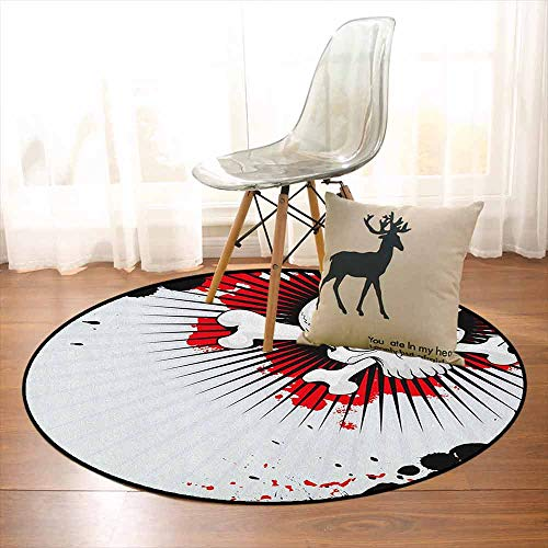 Halloween Multifunctional Round Carpet Skull with Crossed Bones Over Grunge Background Evil Scary Horror Graphic for Bedroom Modern Home Decor D59 Inch Pearl Red Black -