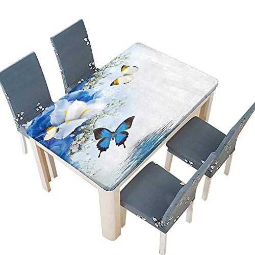 White Monarch Tablecloths - PINAFORE Polyester Table Cloth Blue and White Wild with Monarch Butterflies Lily Therapy Table W45 x L84.5 INCH (Elastic Edge)
