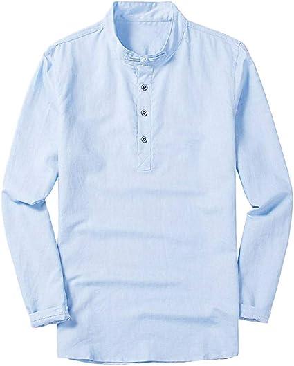 Camisa de manga larga para hombre, de lino, ajustada, sexy ...