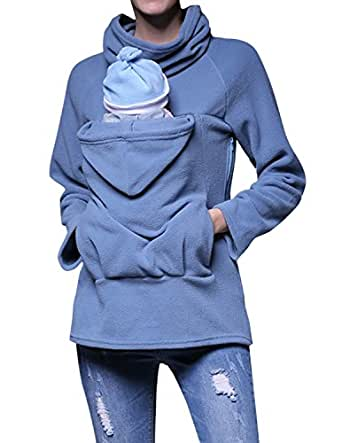 LAPAYA Women's Zip Hoodies Maternity Kangaroo Hooded Sweatshirt for Baby Carrier, Blue, Tag size L=US size S