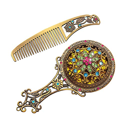 - MoonGift Vintage Mirror Comb Set - Metal and Shiny Stones Makeup Vanity Table Set Petite Vanity Retro Antique Embellished Mini Hand Mirror Comb Set Creative Gifts '' (1 Pack)