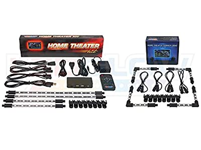 LEDGlow 8pc Million Color SMD LED TV Home Theater Lighting Kit - Add-On Corner Tubes - Remote Control