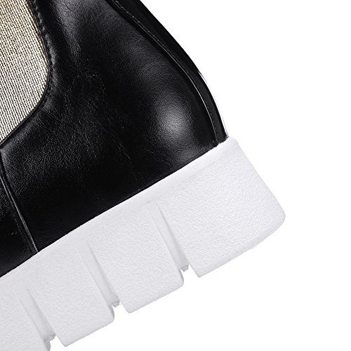 on Closed Pull Low Assorted Color Women's Toe Round PU Boots Heels Black AgooLar 0SwaqCC