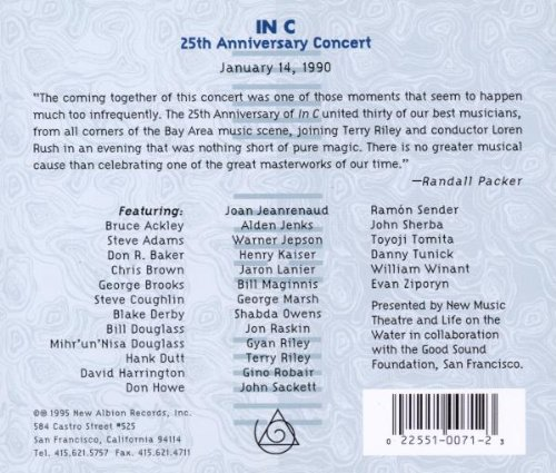 Terry Riley: In C - 25th Anniversary Concert by New Albion Records