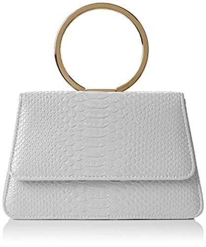 SwankySwansPiper Snakeskin Pu Leather Clutch Bags Grey - Bolsa mujer gris