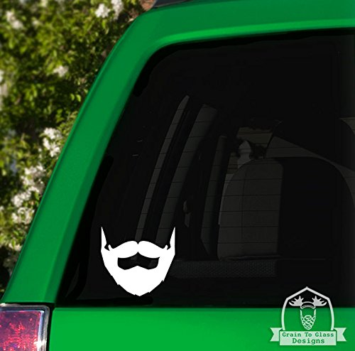 Beard and Mustache Car Decal - White