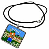 3dRose SmudgeArt Male Child Name Design - Decorative Bear Wearing Overalls with the name Beckett - Necklace With Rectangle Pendant (ncl_50000_1)