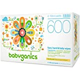 Babyganics Face, Hand & Baby Wipes, Fragrance Free, 600 Count (Contains Six 100-Count Packs), Packaging May Vary
