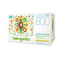 Babyganics Face, Hand & Baby Wipes, Fragrance Free, 600 Count (Contains Six 1...