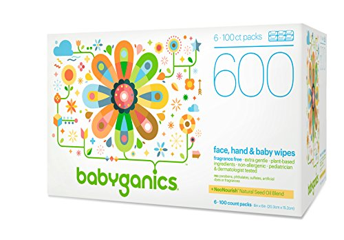 Babyganics Face, Hand & Baby Wipes, Fragrance Free, 600 ct, Packaging May Vary