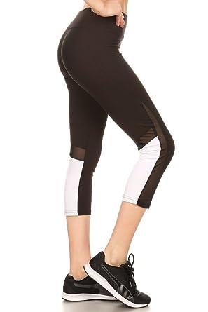 53cbea28f8a Shosho Womens Yoga Capris Sports Leggings Activewear Bottoms With Mesh  Panels   Color Block Black