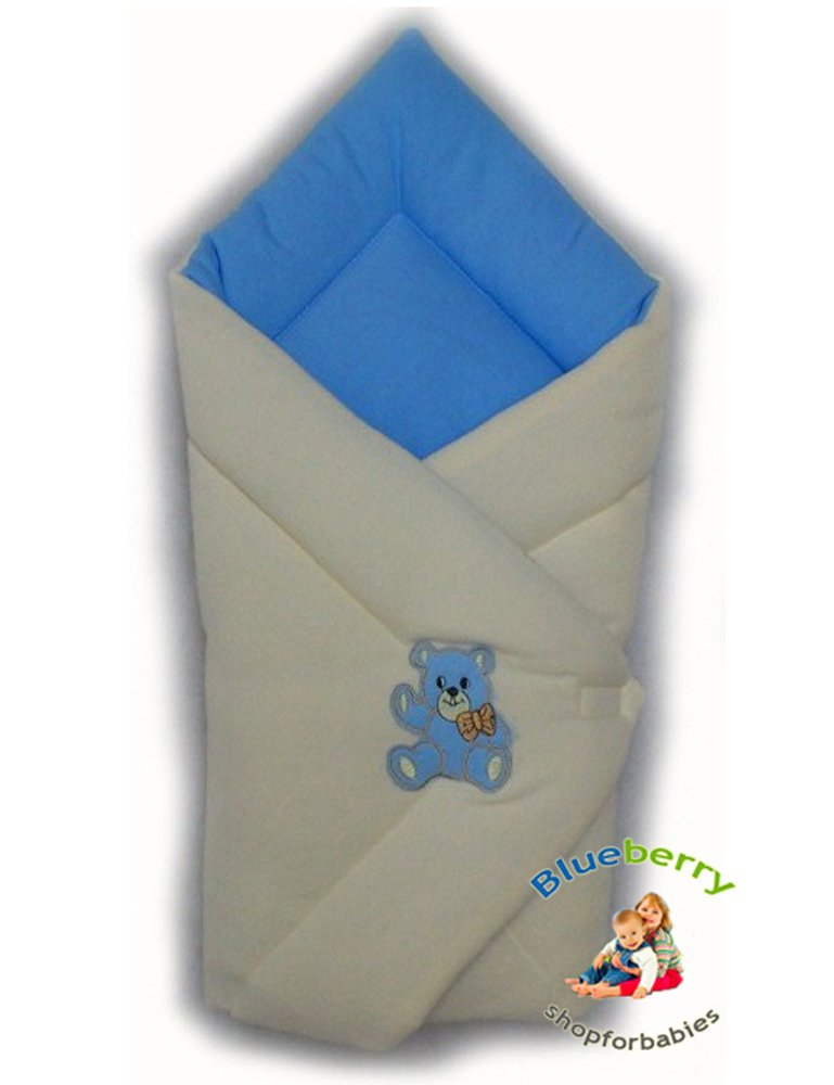 BlueberryShop Cosy Fleece for CAR SEAT Swaddle Wrap Blanket Sleeping Bag for Newborn baby shower GIFT ( 0-3m ) ( 78 x 78 cm ) Blue