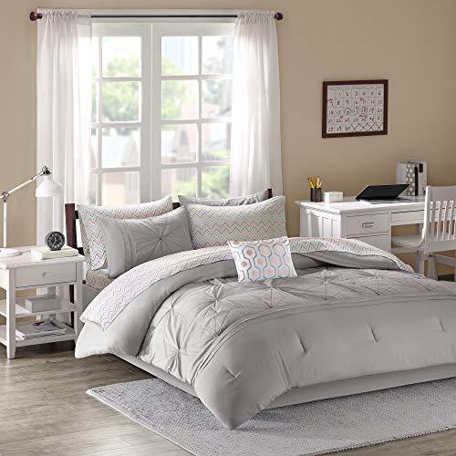 Intelligent Design Toren Comforter Set Twin XL Size Bed in A Bag - Grey, Medallion – 7 Piece Bed Sets – Ultra Soft Microfiber Teen Bedding for Girls Bedroom