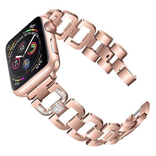 PUGO TOP Compatible with Apple Watch Band 40mm Series 4 Women Iwatch Stainless Steel Metal iPhone Watch Band Bling Strap with Rhinestones (38/40mm, Gold) ()