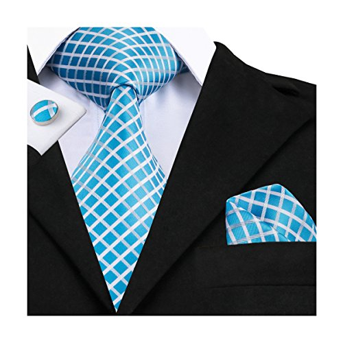 Blue Print Cufflinks - Hi-Tie Men Blue Plaid Stripes Tie Necktie with Cufflinks and Pocket Square Tie Set