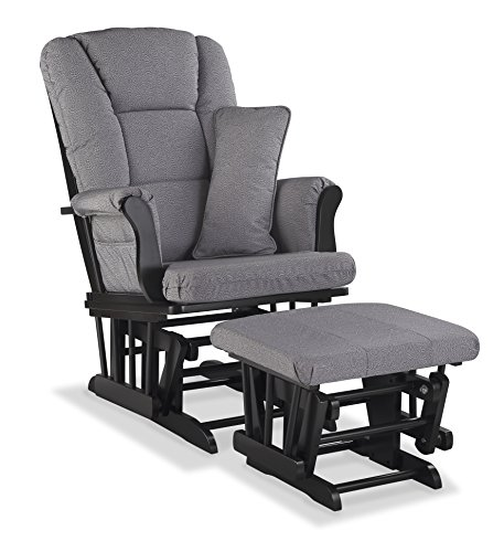Storkcraft Tuscany Custom Glider and Ottoman with Free Lumbar Pillow, Black/Slate Gray - Line Glider