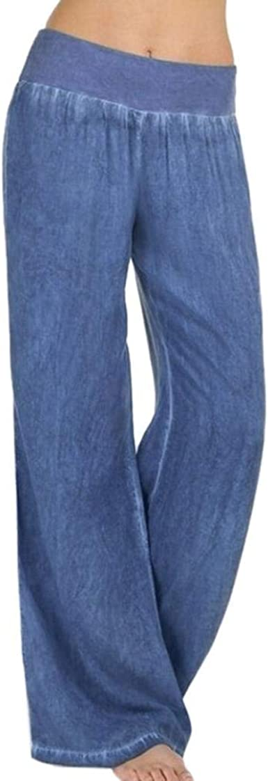 Pantalones Anchos Para Mujer Vaqueros Para Pantalones Mujer Pantalones Modernas Casual De Cintura Alta Con Cintura Ancha Elastica Pantalones Vaqueros Pantalon Pantalones Palazzo Sankidv Amazon Es Ropa Y Accesorios