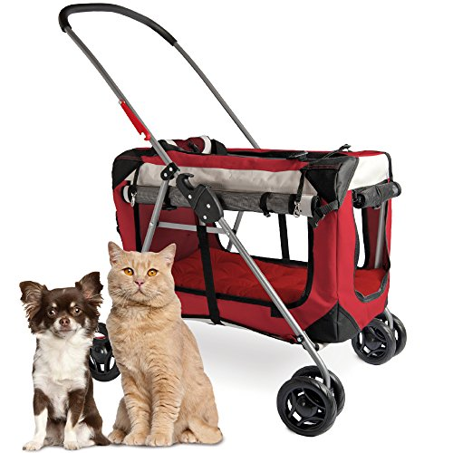 """PetLuv """"Happy Cat Premium 3-in-1 Soft Sided Detachable Pet Carrier, Travel Crate, and Pet Stroller – Locking Zippers, Comfy Plush Nap Pillow, Airy Windows, Sunroof, Reduces Anxiety"""
