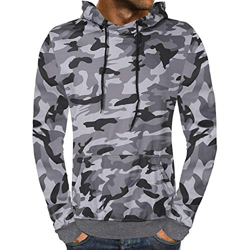 Sweatshirt Outwear Print TEBAISE Coats Blouse Autumn Tops Men's Two Jackets Gray Zipper Camouflage Hooded Pockets tvvSwzq