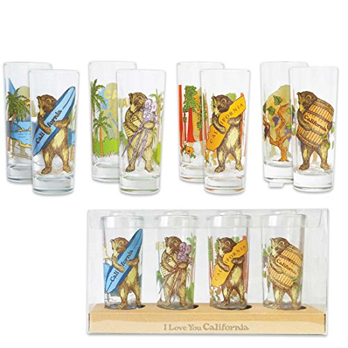 California Surf Bears Set of 4 Glass Shot Glass Shooters