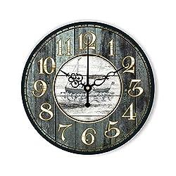 ZHENAI Retro Wall Clock Creative Shop Decoration Watches Ultra-quiet Frameless Wall Clock Round Clock Office (Color : B, Size : 12 inches)
