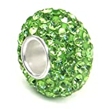Metal Factory (1 Pc) Peridot Green Crystal Ball Bead Sterling Silver Charm