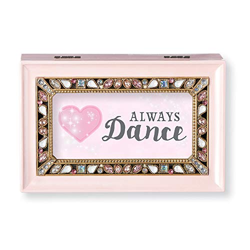 (Roman Music Boxes - Always Dance Pearlized Pink Finish with Pearl Jeweled Insert Music Box - Plays Sleeping Beauty)