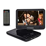 10.5 Inch Portable DVD Player with 270° Swivel Screen, CREATESTAR 4 Hours Rechargeable Battery, USB/SD Card Reader and Car Charger /Mounting Kit - Black