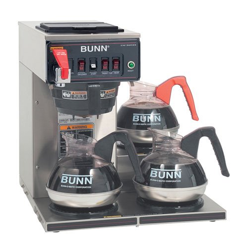 Automatic Commercial Coffee Brewer with Hot Water Faucet, 3 Low Profile Warmers, 120V