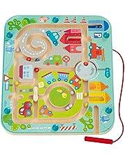 Haba 301056 - Magneetspel stadslabyrinth, educatief houten speelgoed voor kinderen vanaf 2 jaar, traint logica en fijne motoriek