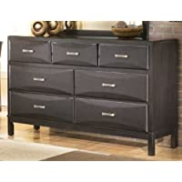 Kira B473-31 64 7-Drawer Dresser with Felt Lined Top Drawers Age Bronze Toned Handles and Sculpted Overlay Drawer Fronts in an Almost Black Color