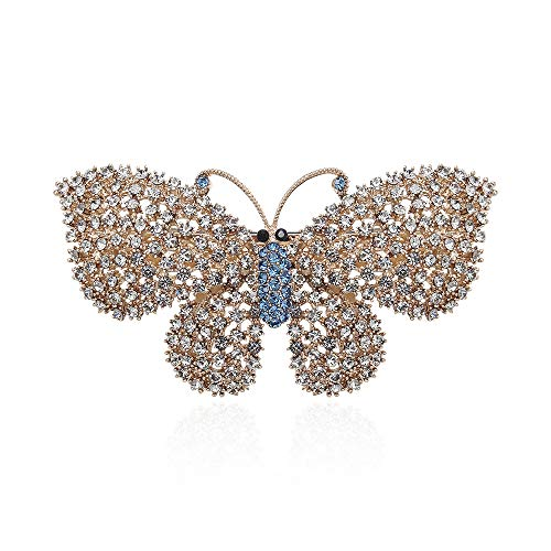 CHIMERA Trendy Korean Barrettes Elegant Rhinestone Butterfly Hair Clips Hollow-out Crystal Side Clips for Wedding Party or Daily ()