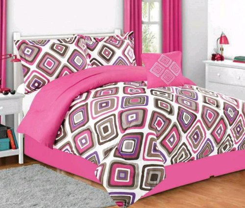 Cute Multiple Size Girls Kids Bedding Santana Pink Comforter Set Full