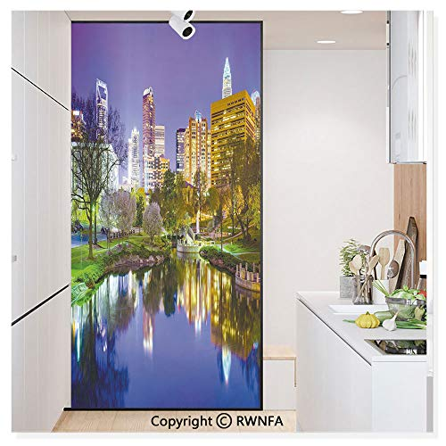 Window Glass Sticker Door Mural North Carolina Marshall Park United States American Night Reflections on Lake Photo Static Cling Privacy No Glue Film Home Decorative 11.8x59.8inch,Multicolor