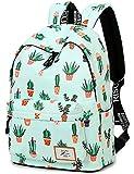 School Bookbag for Girls, Cute Water Resistant Laptop Backpack College Bags (Water Blue-Cactus)