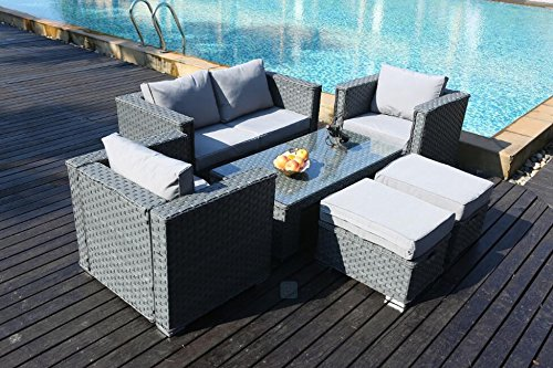 Superbe YAKOE Monaco 6 Seater Rattan Garden Furniture Patio Conservatory Sofa Set  With Coffee Table Chairs And Stools   Grey: Amazon.co.uk: Garden U0026 Outdoors