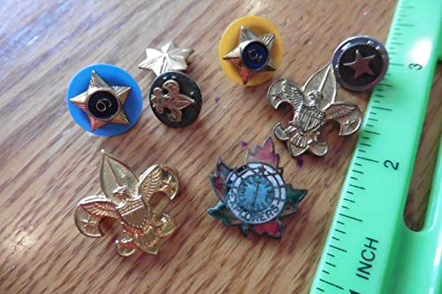 Lapel Pin Lot of 8 Boy Girl Scout pins Explorer leaf eagle 6 stars 3 star badges