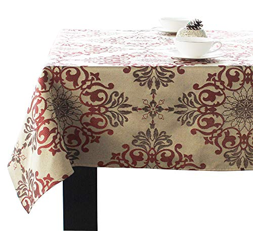 - DIRECT2HOME Assorted Sizes/Colors Holiday Elegance Jacquard Fabric Tablecloths Polyester (Red, 52x52 Square)