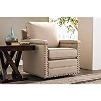 Baxton Studio Wholesale Interiors Ashley Classic Retro Fabric Upholstered Swivel Glider Armchair, Large, Beige