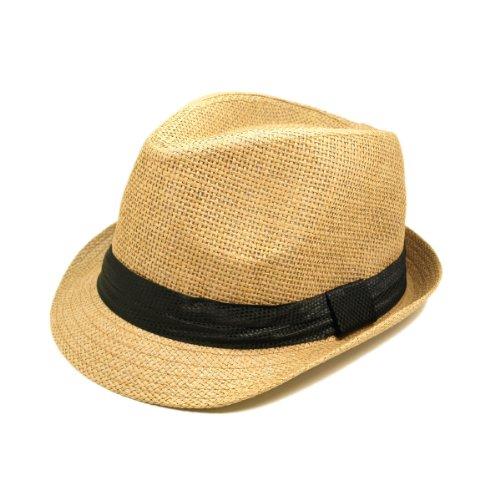 Classic Tan Fedora Straw Hat