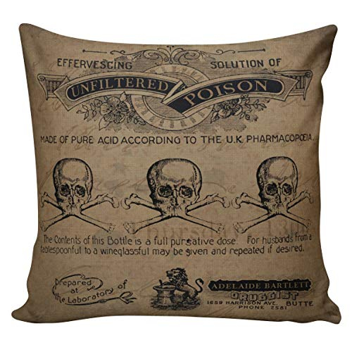 Dozili Vintage Halloween Skull Poison Label Throw Pillow Cover -