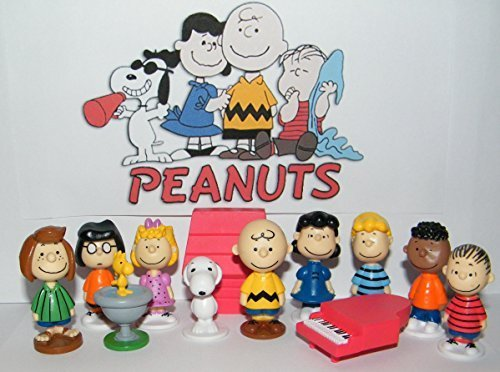 Inspired by Peanuts Movie Classic with Snoopy, Woodstock, Dog House, Linus, Charlie and More Cake Toppers Cupcake figures decorative Birthday Party - Pack 12pcs