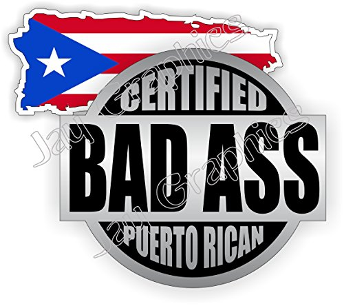 Bad Ass Puerto Rican Hard Hat Stickers + Flag of Puerto Rico \ Badass Motorcycle Helmet Decals \ Labels Toolbox Welder Motorcycle Laptop Notebook Laborer Carpenter Plumber Construction Gear