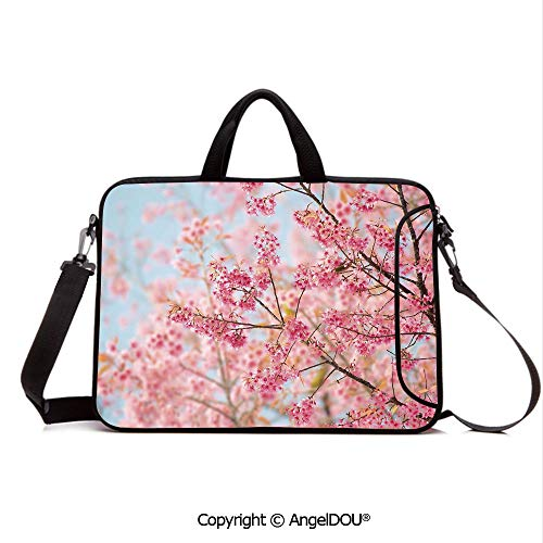 (AngelDOU Notebook Bag for School Laptop Sleeve Messenger Bags Japanese Sakura Cherry Blossom Branches Full of Spring Beauty Picture PC Cover case Compatible with mac pro/asus/acer/hp/xiaomi Light P)