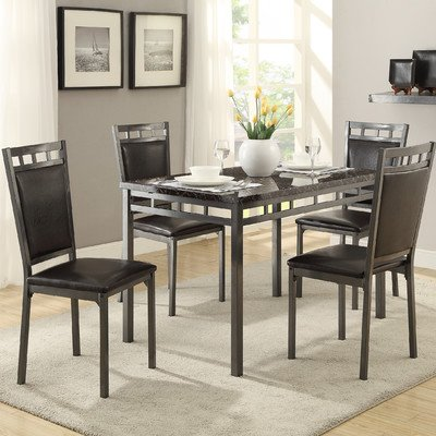 Cushing 5 Piece Dining Set, Faux marble top