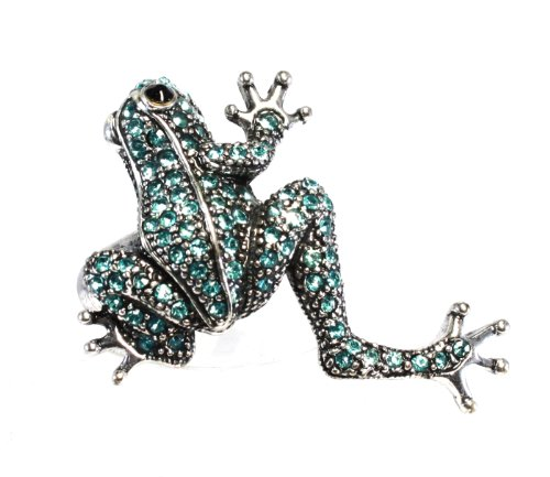 Costume Ja Rule (Bijoux De Ja Silver Tone Crystal Frog Stretch Cocktail Ring Size 7 -)